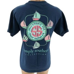 SIMPLY SOUTHERN S Small T-shirt Blue Cotton